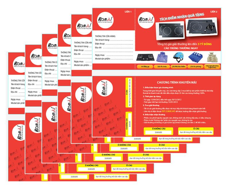 Thiết kế và in 1000 thẻ cào khuyến mại Bếp ga âm