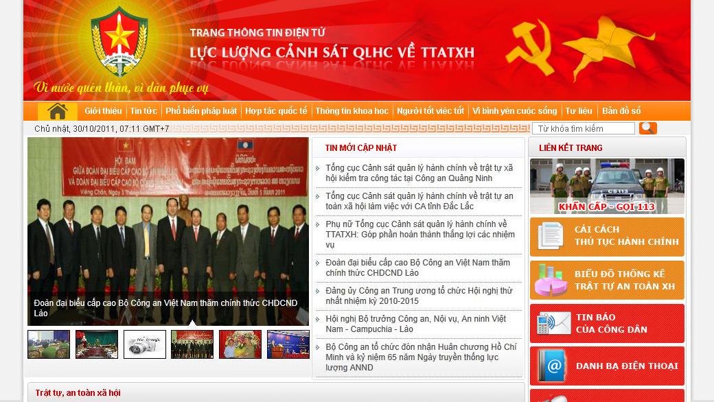 Thiết kế giao diện website Tổng cục Cảnh sát QLHC về TTATXH