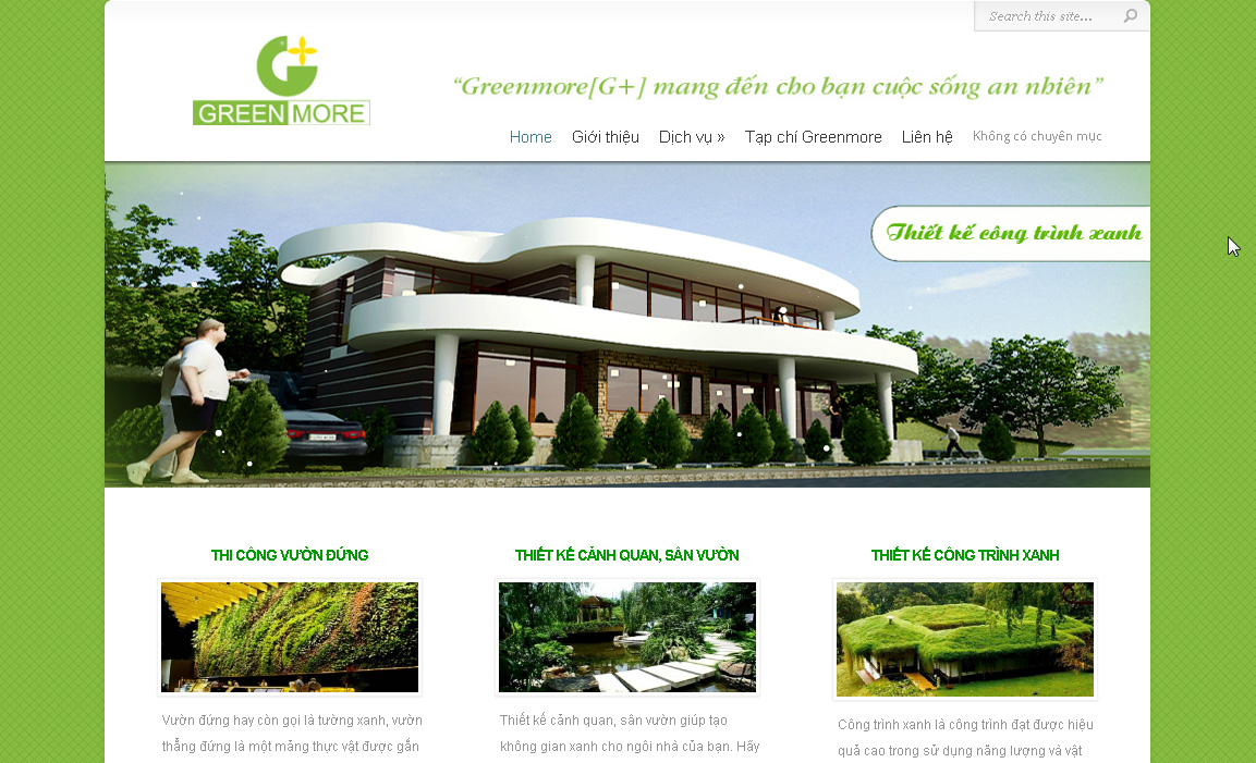 Thiết kế website cảnh quan sân vườn, cây cảnh, công trình xanh